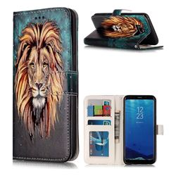 Ice Lion 3D Relief Oil PU Leather Wallet Case for Samsung Galaxy S8