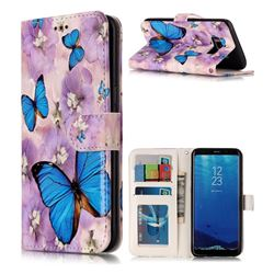 Purple Flowers Butterfly 3D Relief Oil PU Leather Wallet Case for Samsung Galaxy S8