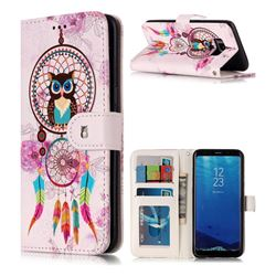 Wind Chimes Owl 3D Relief Oil PU Leather Wallet Case for Samsung Galaxy S8