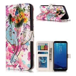 Flower Elephant 3D Relief Oil PU Leather Wallet Case for Samsung Galaxy S8