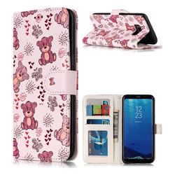 Cute Bear 3D Relief Oil PU Leather Wallet Case for Samsung Galaxy S8
