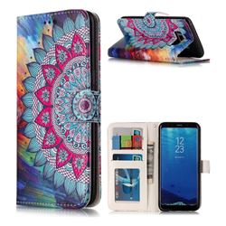 Mandala Flower 3D Relief Oil PU Leather Wallet Case for Samsung Galaxy S8