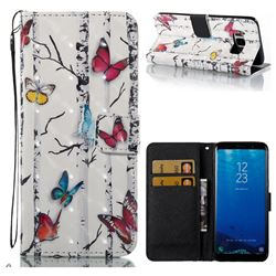 Colored Butterflies 3D Painted Leather Wallet Case for Samsung Galaxy S8