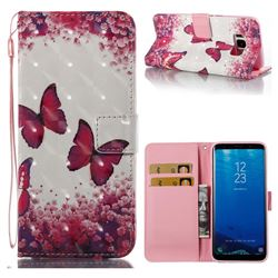 Rose Butterfly 3D Painted Leather Wallet Case for Samsung Galaxy S8