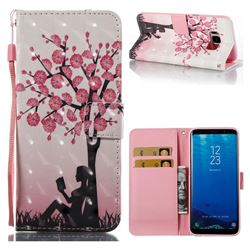 Plum Girl 3D Painted Leather Wallet Case for Samsung Galaxy S8