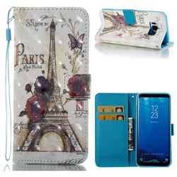 Flower Eiffel Tower 3D Painted Leather Wallet Case for Samsung Galaxy S8
