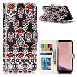 Flower Skull 3D Relief Oil PU Leather Wallet Case for Samsung Galaxy S8