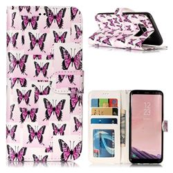 Butterflies Stickers 3D Relief Oil PU Leather Wallet Case for Samsung Galaxy S8