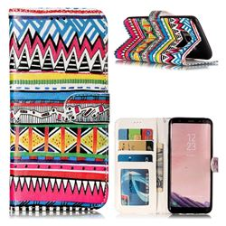 Tribal Pattern 3D Relief Oil PU Leather Wallet Case for Samsung Galaxy S8