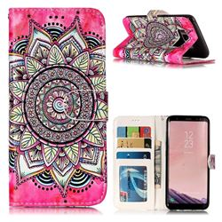 Rose Mandala 3D Relief Oil PU Leather Wallet Case for Samsung Galaxy S8