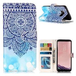 Totem Flower 3D Relief Oil PU Leather Wallet Case for Samsung Galaxy S8