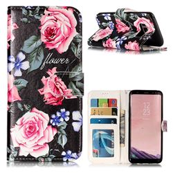 Peony 3D Relief Oil PU Leather Wallet Case for Samsung Galaxy S8