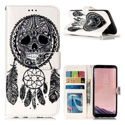 Wind Chimes Skull 3D Relief Oil PU Leather Wallet Case for Samsung Galaxy S8