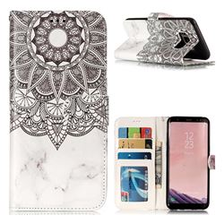 Marble Mandala 3D Relief Oil PU Leather Wallet Case for Samsung Galaxy S8