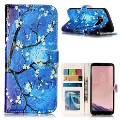 Plum Blossom 3D Relief Oil PU Leather Wallet Case for Samsung Galaxy S8