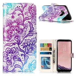 Purple Lotus 3D Relief Oil PU Leather Wallet Case for Samsung Galaxy S8