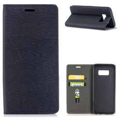 Tree Bark Pattern Automatic suction Leather Wallet Case for Samsung Galaxy S8 - Black