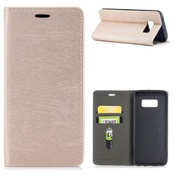 Tree Bark Pattern Automatic suction Leather Wallet Case for Samsung Galaxy S8 - Champagne Gold