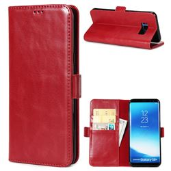 Luxury Crazy Horse PU Leather Wallet Case for Samsung Galaxy S8 - Red