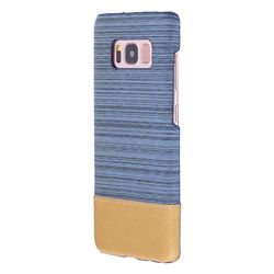 Canvas Cloth Coated Plastic Back Cover for Samsung Galaxy S8 - Light Blue