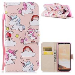Rainbow Unicorn PU Leather Wallet Case for Samsung Galaxy S8