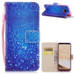 Blue Powder PU Leather Wallet Case for Samsung Galaxy S8