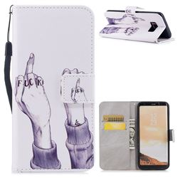 Middle Finger PU Leather Wallet Case for Samsung Galaxy S8