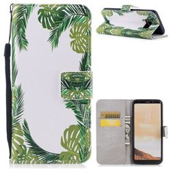 Green Leaves PU Leather Wallet Case for Samsung Galaxy S8