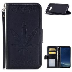 Intricate Embossing Maple Leather Wallet Case for Samsung Galaxy S8 - Black