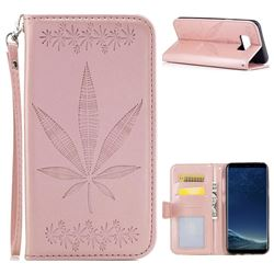 Intricate Embossing Maple Leather Wallet Case for Samsung Galaxy S8 - Rose Gold