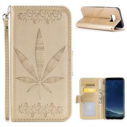 Intricate Embossing Maple Leather Wallet Case for Samsung Galaxy S8 - Champagne