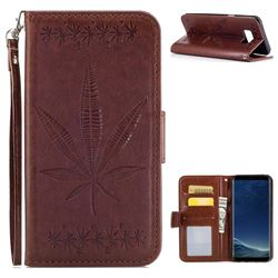Intricate Embossing Maple Leather Wallet Case for Samsung Galaxy S8 - Brown