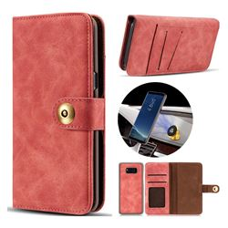 Luxury Vintage Split Separated Leather Wallet Case for Samsung Galaxy S8 - Carmine