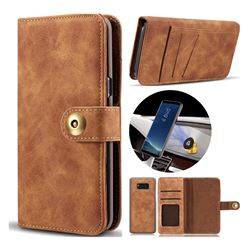 Luxury Vintage Split Separated Leather Wallet Case for Samsung Galaxy S8 - Brown