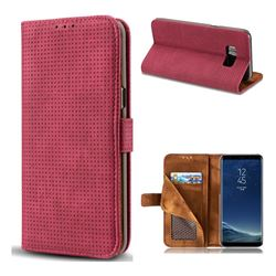 Luxury Vintage Mesh Monternet Leather Wallet Case for Samsung Galaxy S8 - Rose