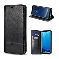 Magnetic Suck Stitching Slim Leather Wallet Case for Samsung Galaxy S8 - Black