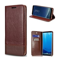 Magnetic Suck Stitching Slim Leather Wallet Case for Samsung Galaxy S8 - Brown