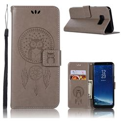 Intricate Embossing Owl Campanula Leather Wallet Case for Samsung Galaxy S8 - Grey