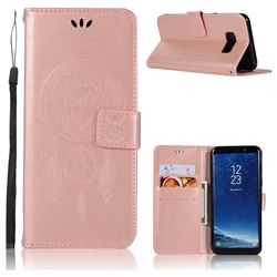 Intricate Embossing Owl Campanula Leather Wallet Case for Samsung Galaxy S8 - Rose Gold