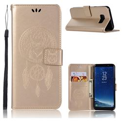 Intricate Embossing Owl Campanula Leather Wallet Case for Samsung Galaxy S8 - Champagne