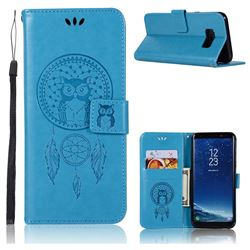 Intricate Embossing Owl Campanula Leather Wallet Case for Samsung Galaxy S8 - Blue