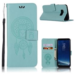 Intricate Embossing Owl Campanula Leather Wallet Case for Samsung Galaxy S8 - Green