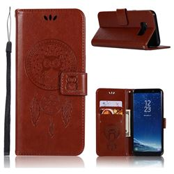 Intricate Embossing Owl Campanula Leather Wallet Case for Samsung Galaxy S8 - Brown