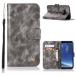Luxury Retro Leather Wallet Case for Samsung Galaxy S8 - Gray
