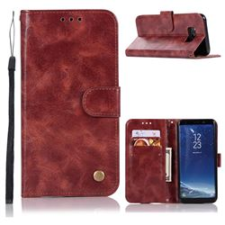 Luxury Retro Leather Wallet Case for Samsung Galaxy S8 - Wine Red