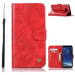 Luxury Retro Leather Wallet Case for Samsung Galaxy S8 - Red