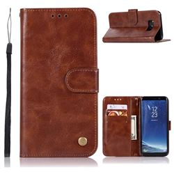 Luxury Retro Leather Wallet Case for Samsung Galaxy S8 - Brown