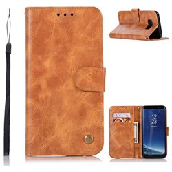 Luxury Retro Leather Wallet Case for Samsung Galaxy S8 - Golden