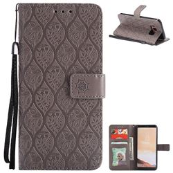 Intricate Embossing Rattan Flower Leather Wallet Case for Samsung Galaxy S8 - Grey