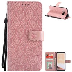 Intricate Embossing Rattan Flower Leather Wallet Case for Samsung Galaxy S8 - Pink